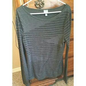 Charcoal gray long sleeve top